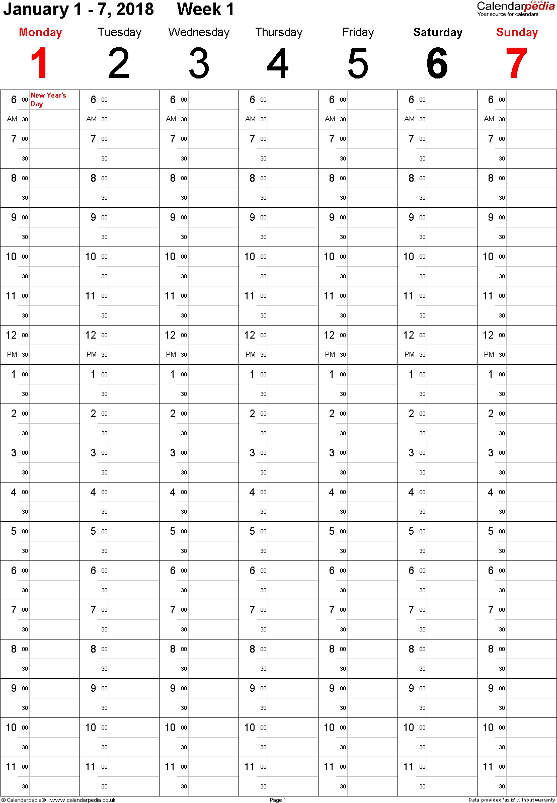 Weekly Calendar 2018 Uk Free Printable Templates For Excel3abry
