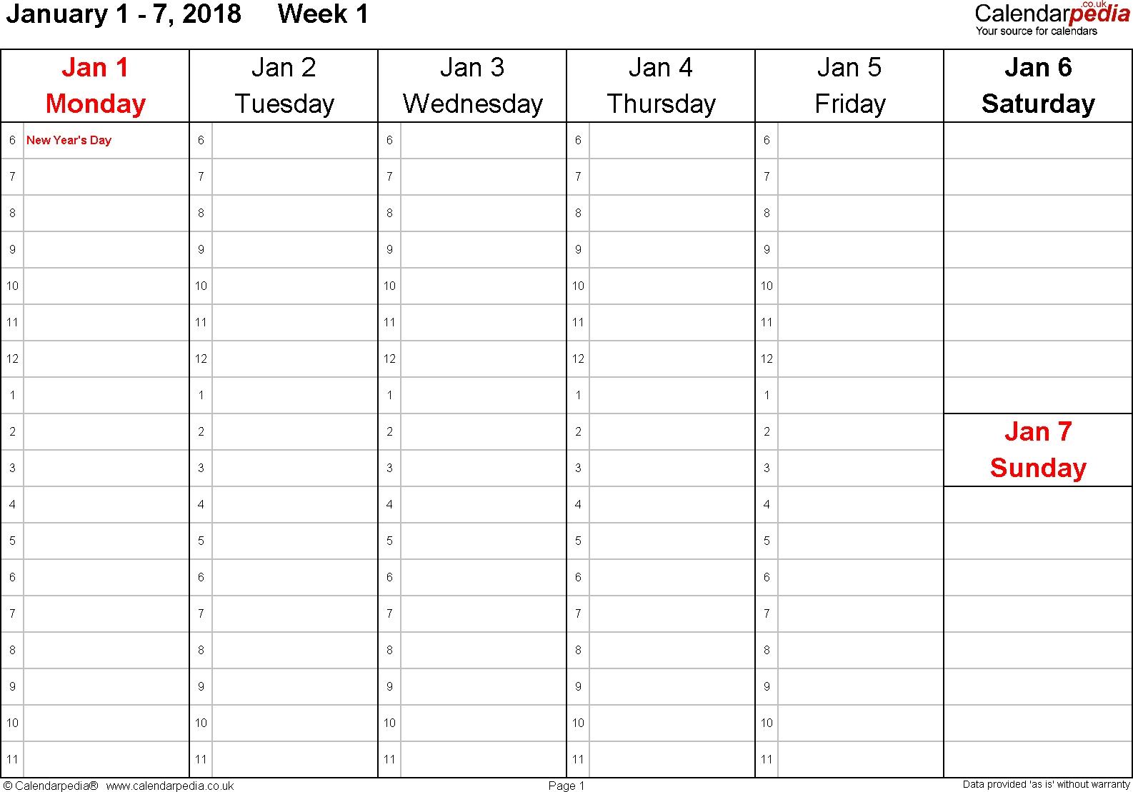 Weekly Calendar 2018 Uk Free Printable Templates For Pdf  Xjb