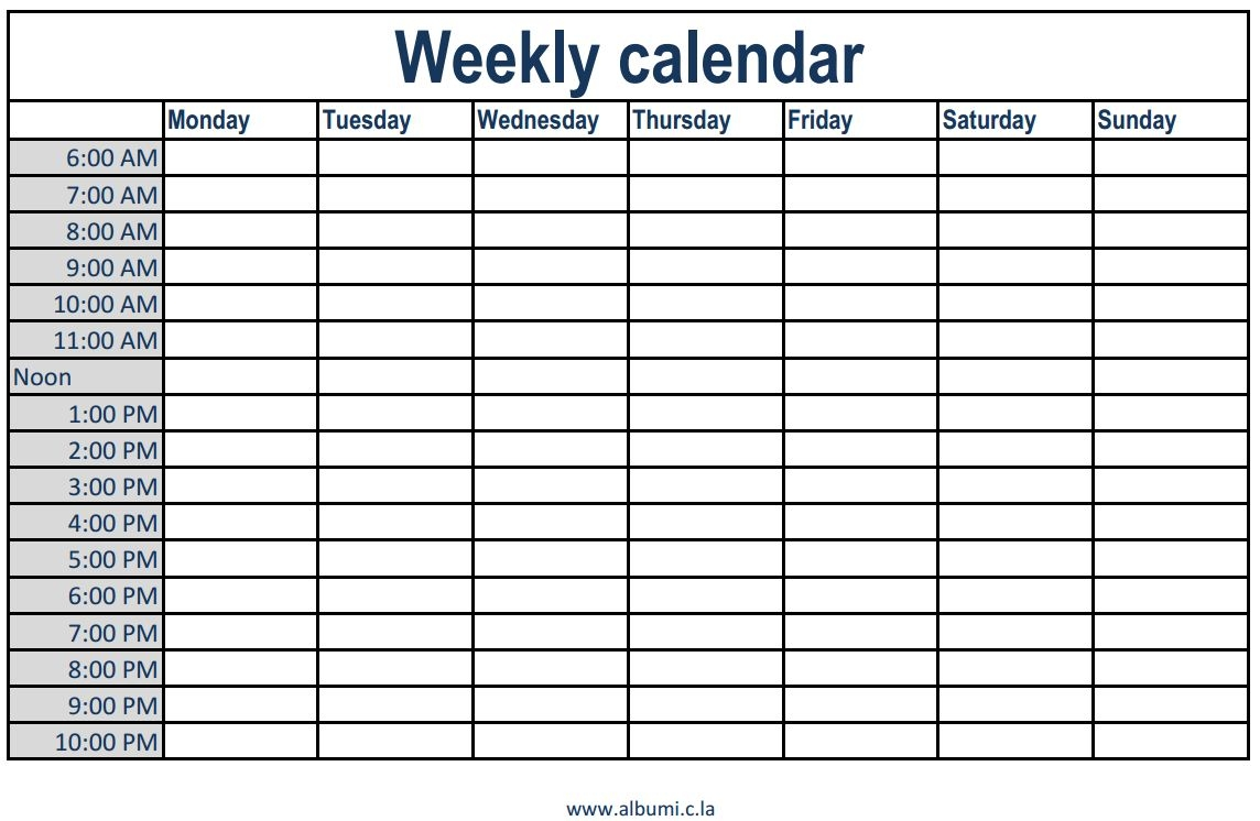 Weekly Calendar With Time Slots Commonpenceco