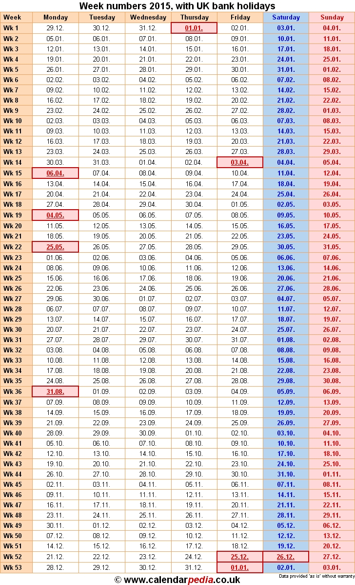 Weekly Number Calendar 2015 Calendar Template Excel3abry