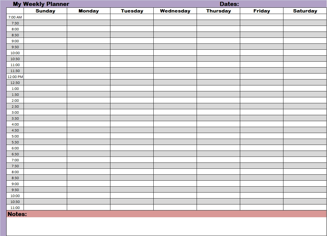 weekly planner with time slots printable
