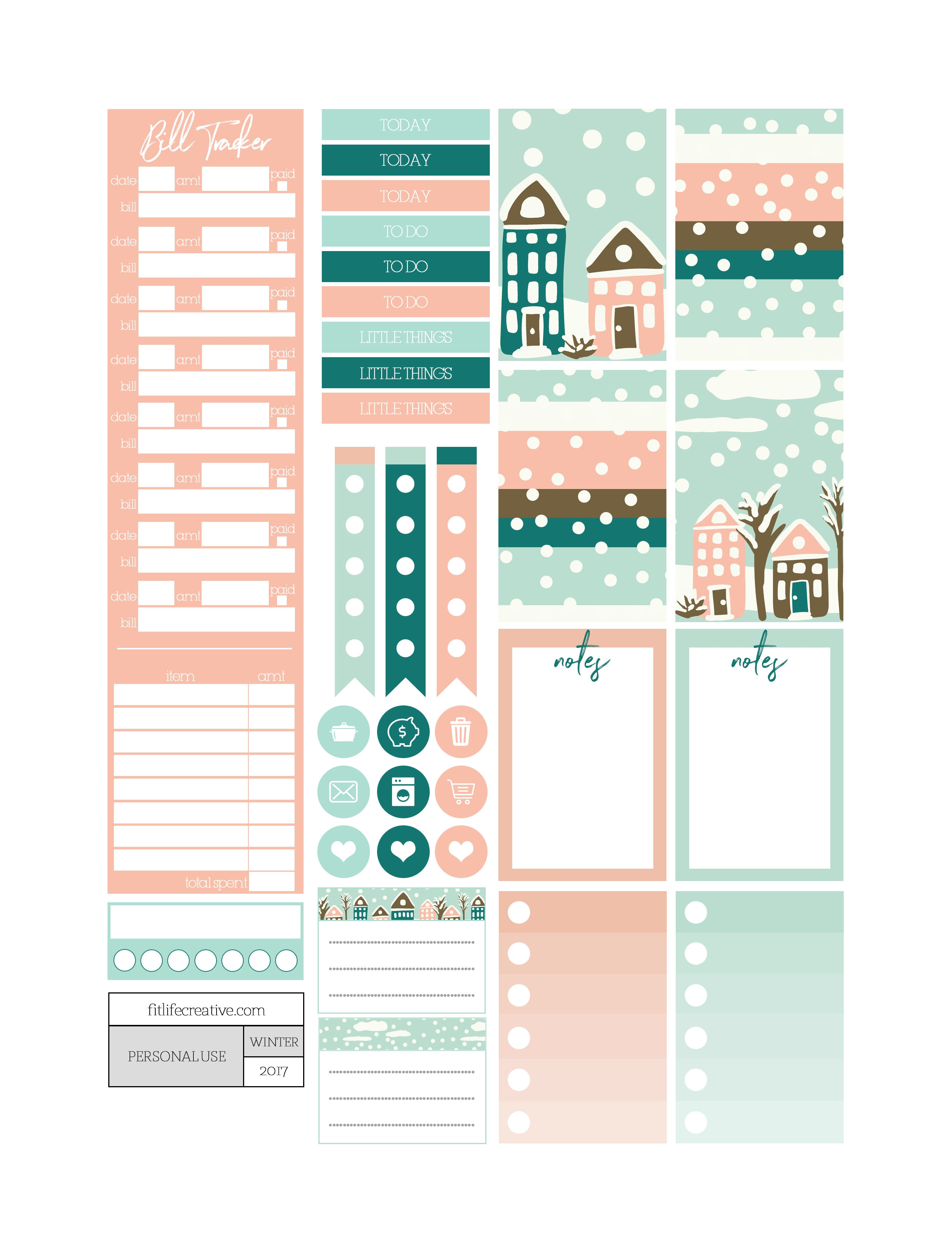 Winter Wonderland Free Printable Monthly Planner Kit Includes  Xjb