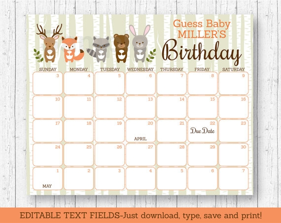 Woodland Animal Ba Shower Due Date Calendar Woodland Ba