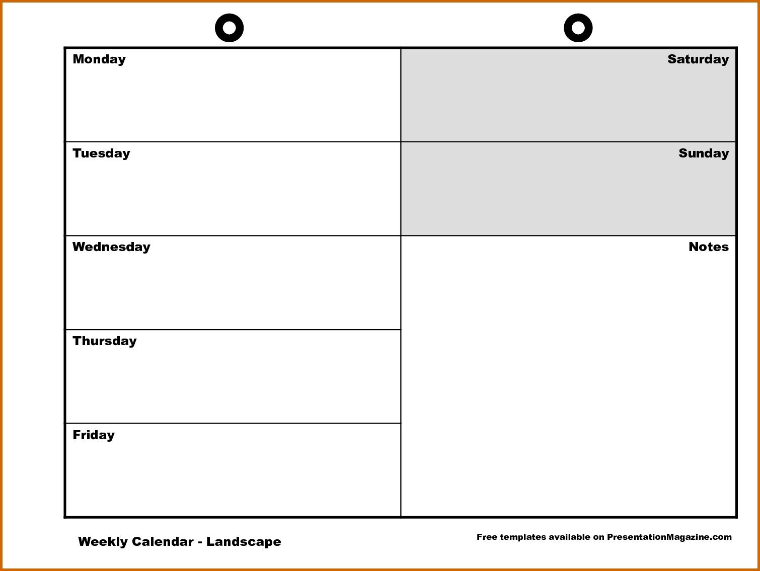 11 Monday Through Friday Printable Calendar Lease Template3abry
