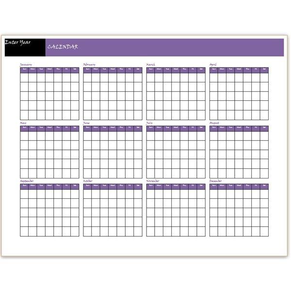 12 Month Calendar Template Aztec Online