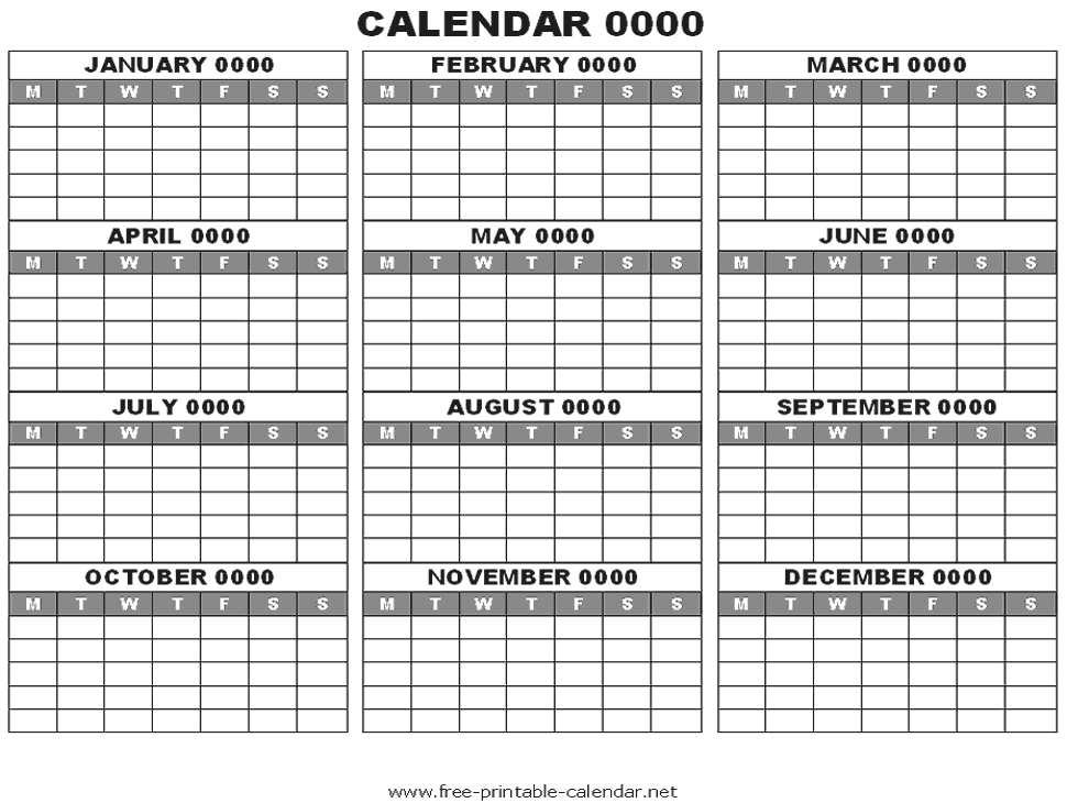 12 Month Calendar View Blank Year Calendar Template Blank Calendar