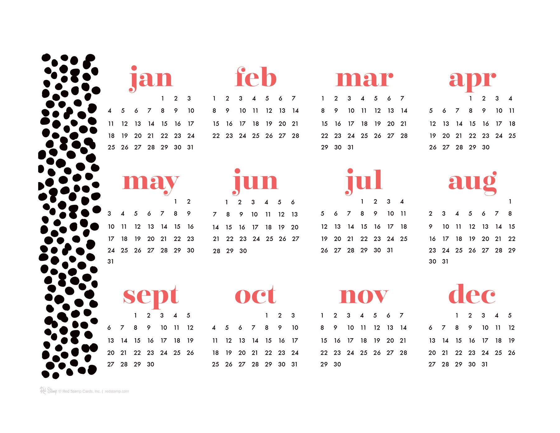 2015 Year At A Glance Calendars Red Stamp