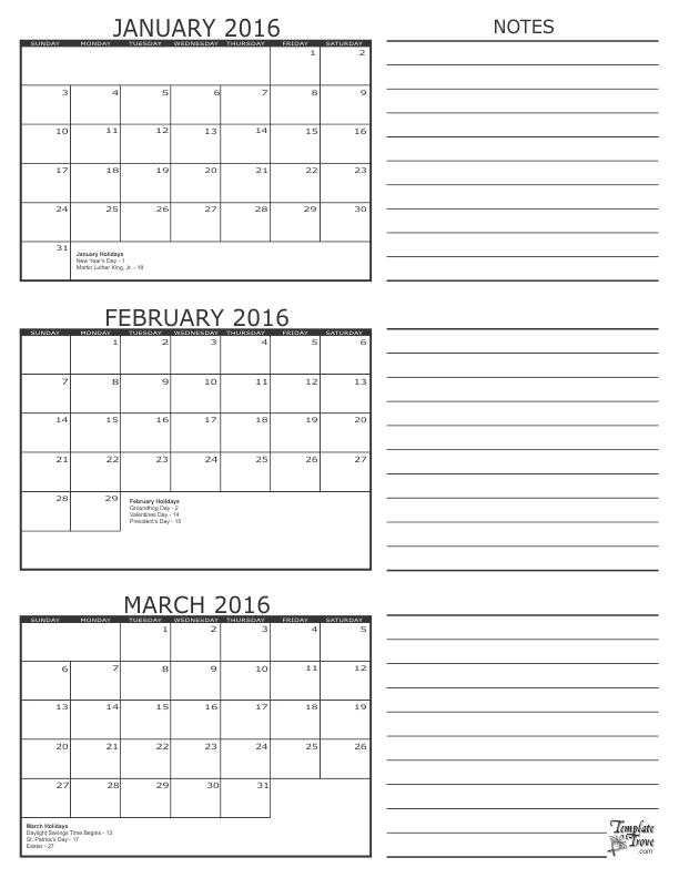 2016 3 Month Calendar Calendar Planner Pinterest Homeschool