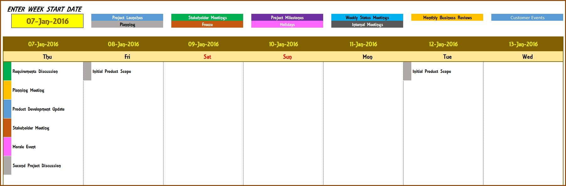 2016 Weekly Calendar Event Calendar Maker Excel Template Event
