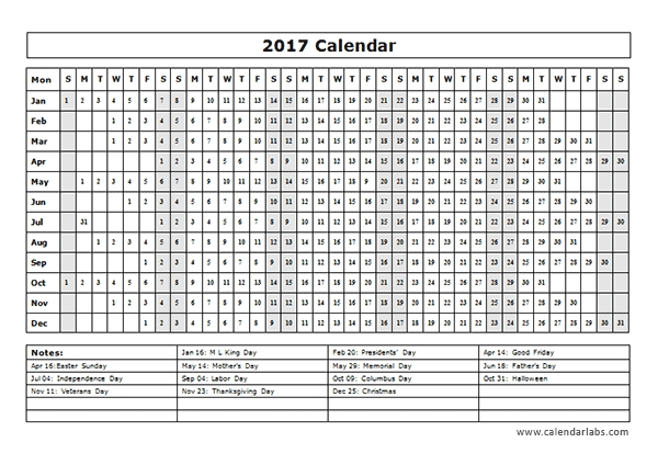2017 Calendar Template Year At A Glance Free Printable Templates