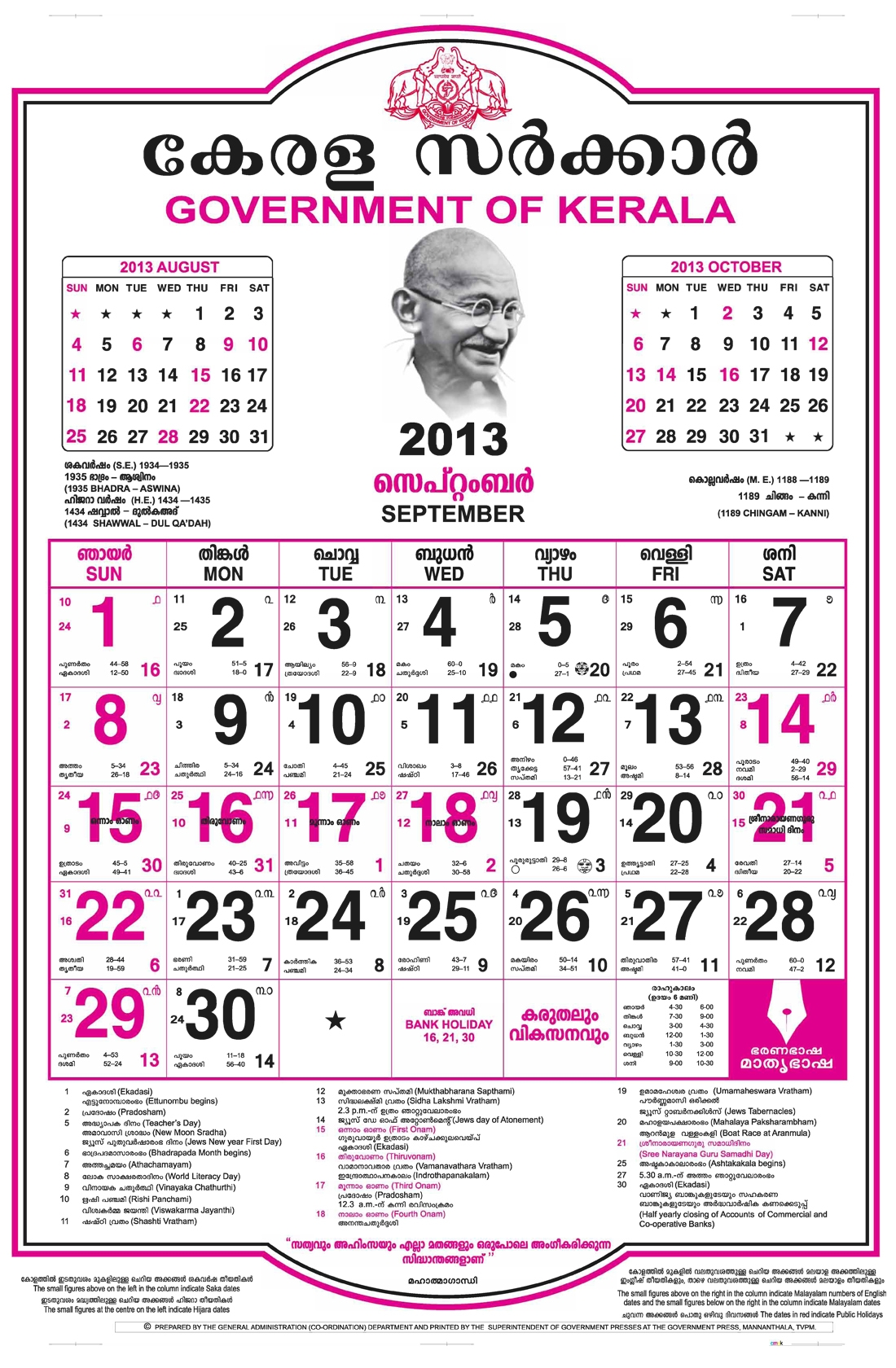 malayalam calendar 2018 january to december