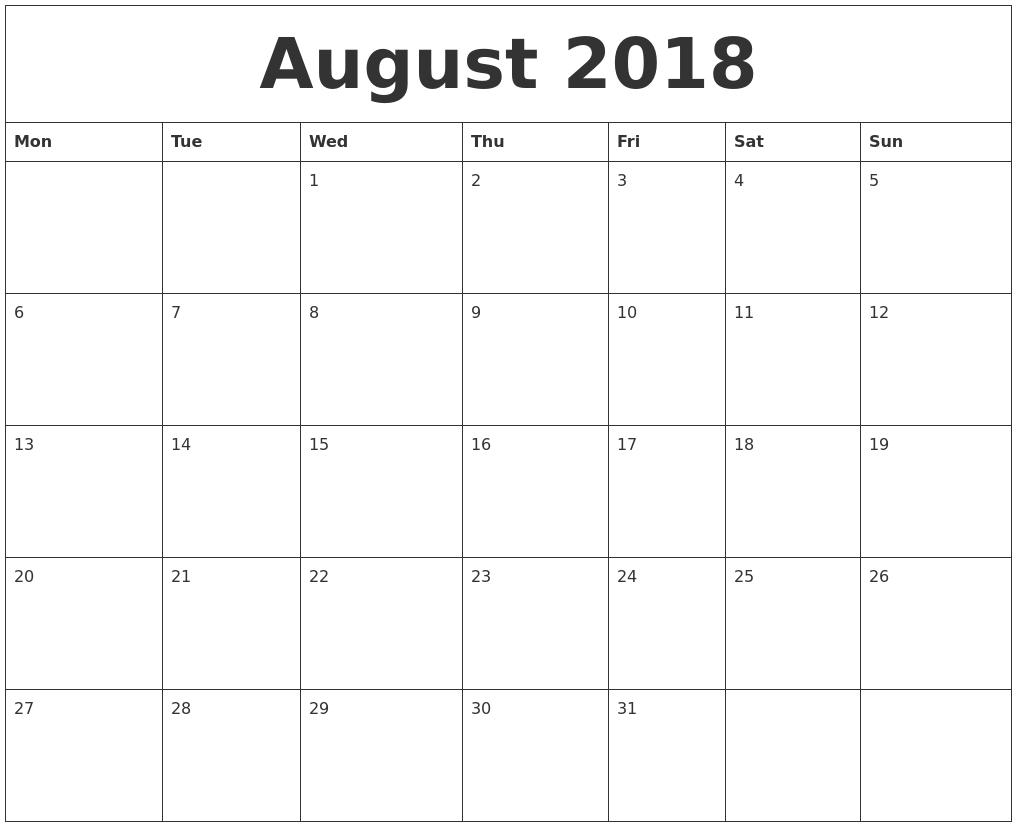 2018 Calendar3abry
