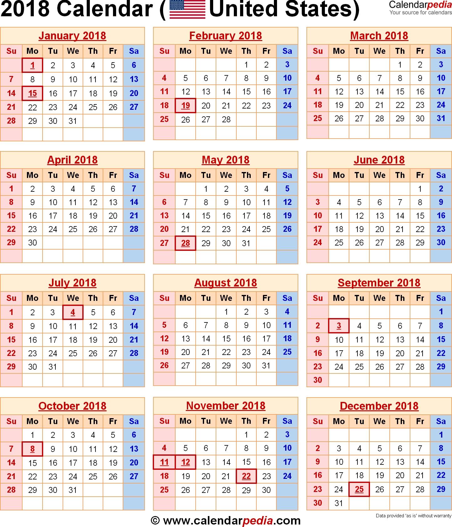 2018 Calendar Calendars Diy Pinterest Federal Holiday Free