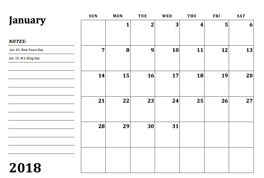 2018 Monthly Calendar Printable 12 Month Templates Web E Calendar