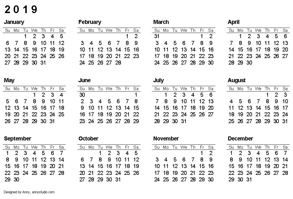 2019 Calendar Monthly Calendar 2017