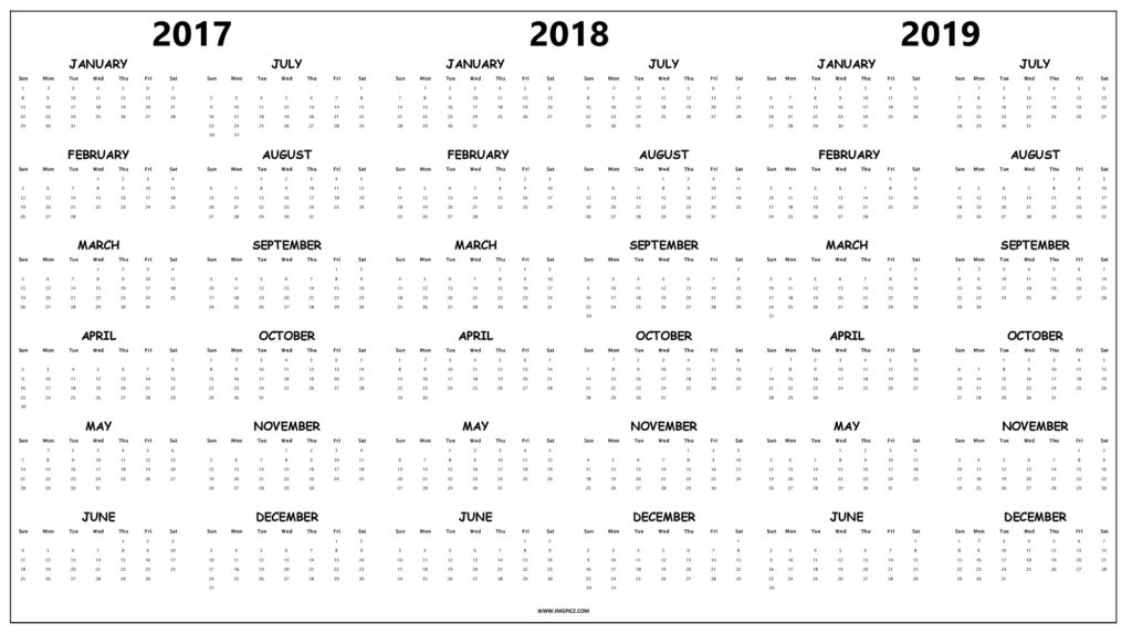 2019 Calendar One Page Printable Calendar Template