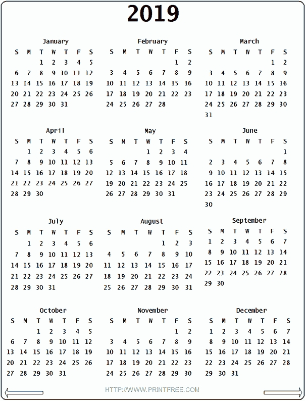 2019 Calendar Printable Printable Calendar Template