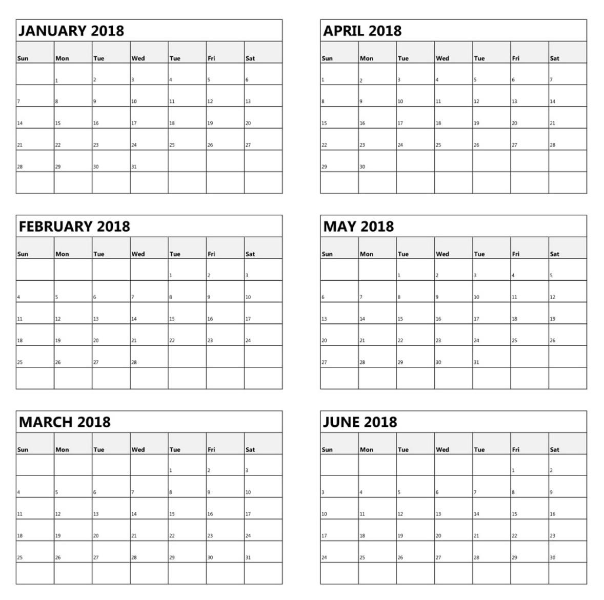 6 Month One Page Calendar 2018 Calendar 20183abry