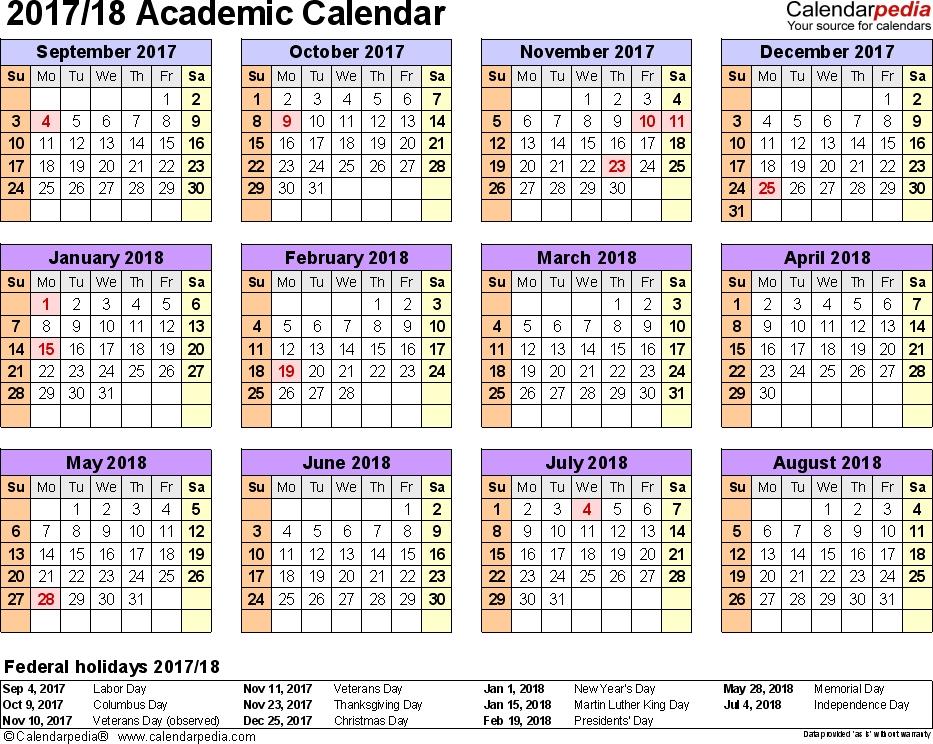 Academic Calendars 20172018 As Free Printable Word Templates