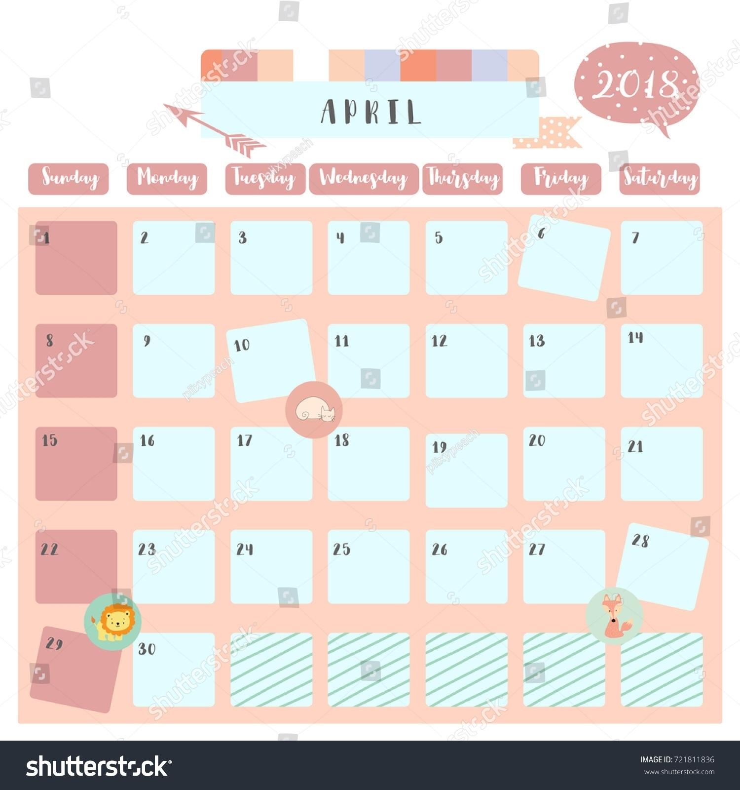 April 2018 Calendar Colorful Flogfolioweekly  Xjb