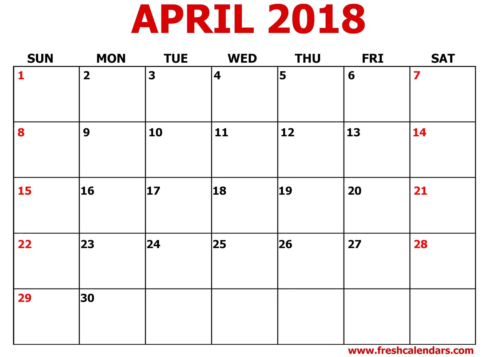 April 2018 Printable Calendar Templates  Xjb