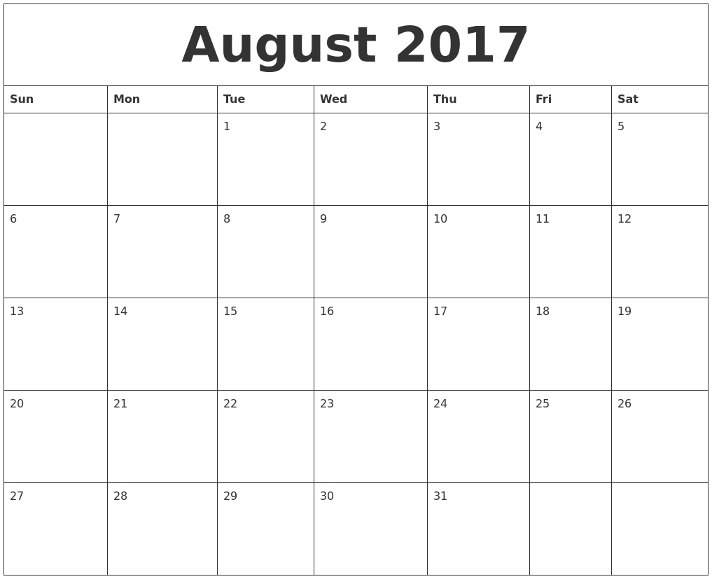 August 2017 Calendar Editable August 2017 Calendar Pinterest  Xjb