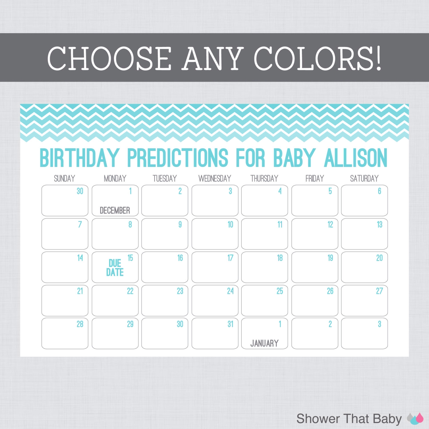 Ba Birthday Predictions Printable Chevron Ba Shower Calendar3abry