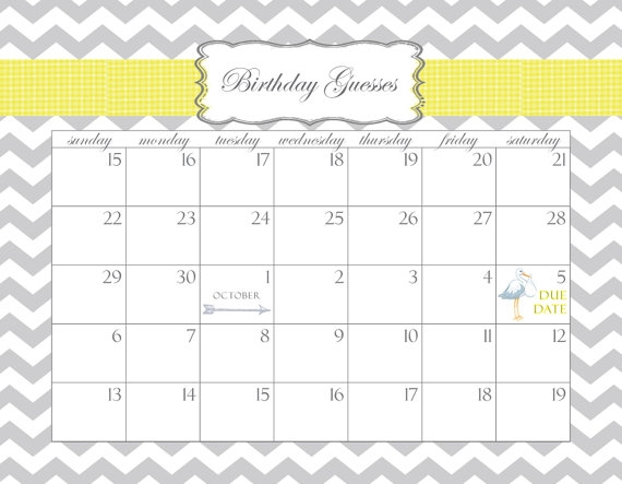 Ba Shower Calendar Printable Pdf Birthday Guesses Customizable