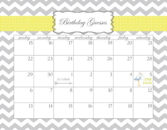 Ba Shower Calendar Printable Pdf Birthday Guesses Customizable