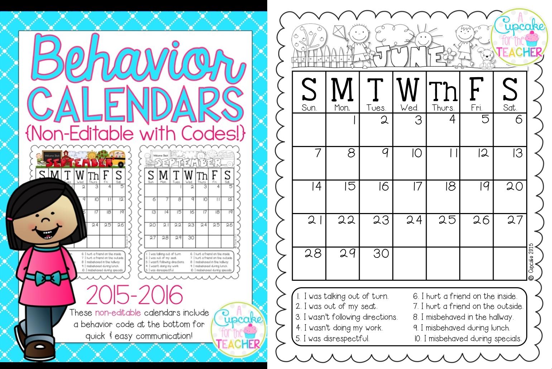 Behavior Calendars 2015 2016 Makeover Madness A Cupcake For The3abry