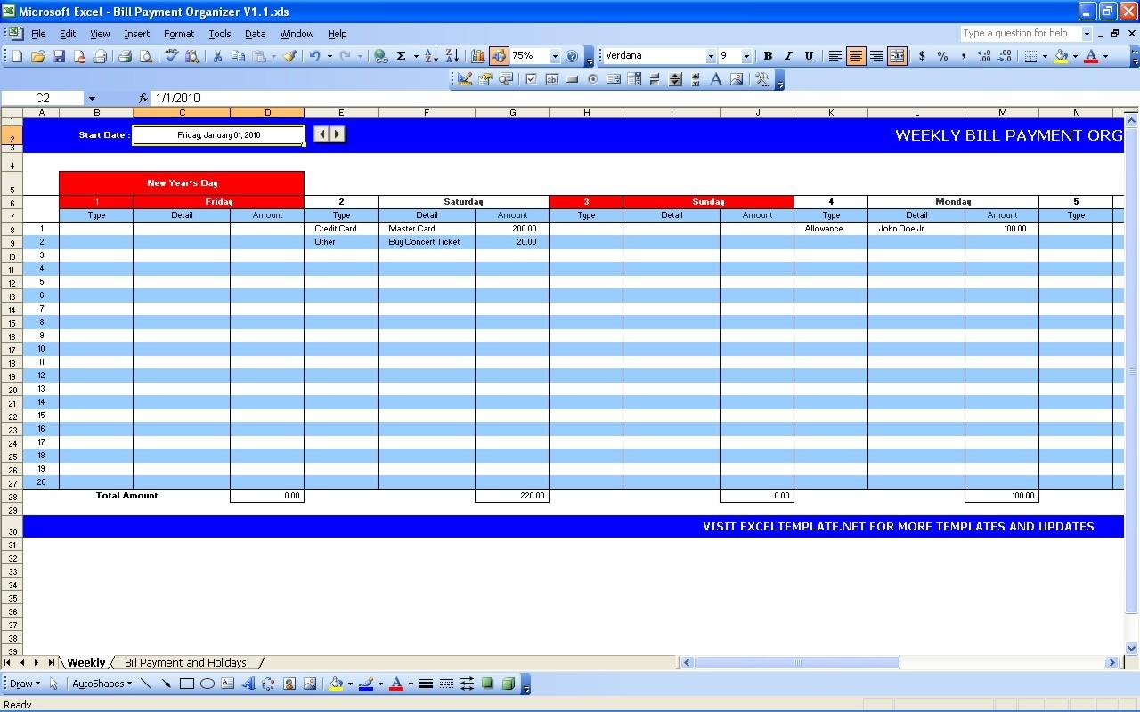 Bill Payment Calendar Excel Templates