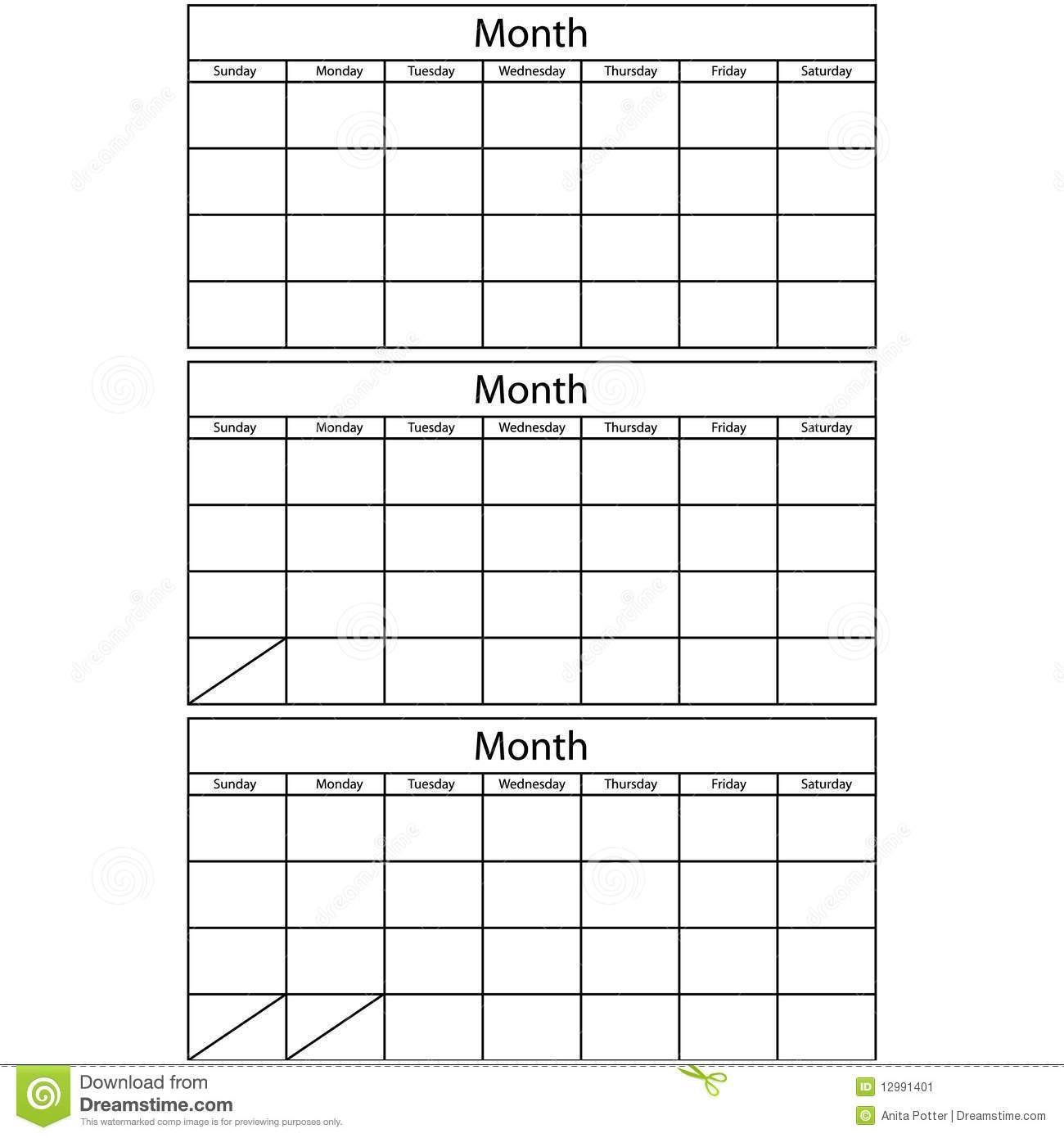 Blank 3 Month Calendar 2018 Calendar Printable  Xjb