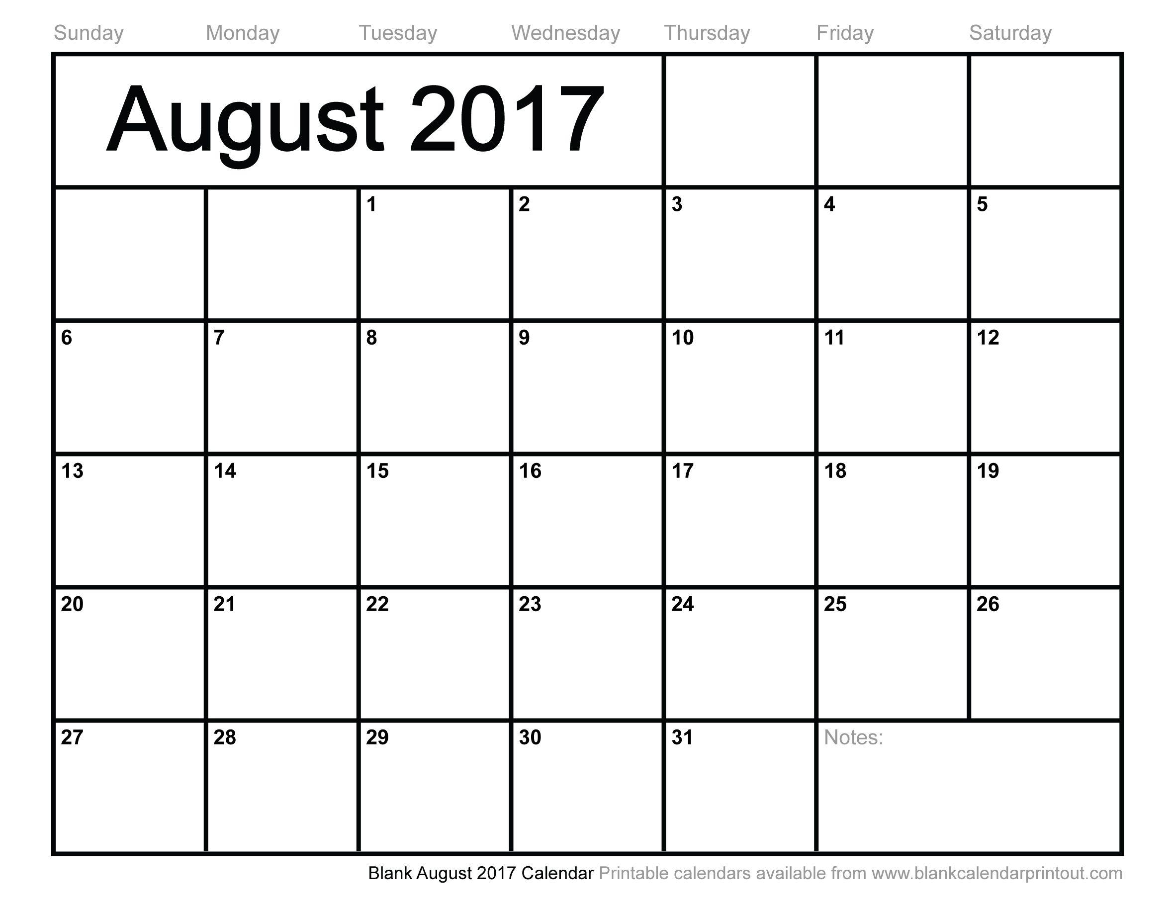 Blank August 2017 Calendar Calendar August Pinterest Blank