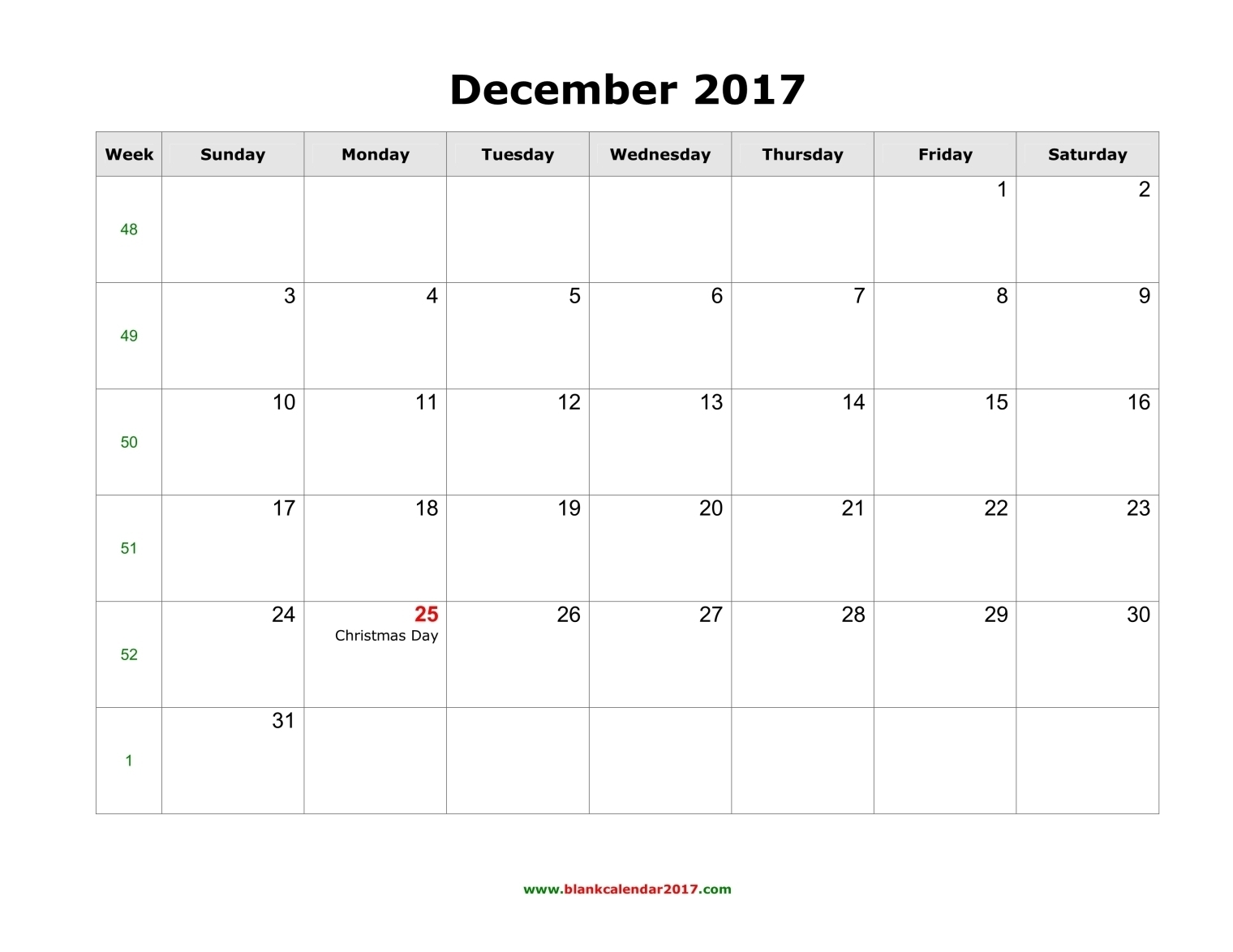 Blank Calendar For December 2017  Xjb