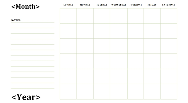 Blank Calendar With Note Section Calendar