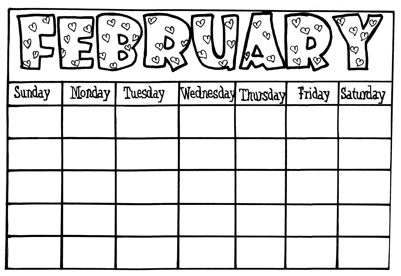 Blank Calendars For Kids Printable Calendar Templates 2018  Xjb