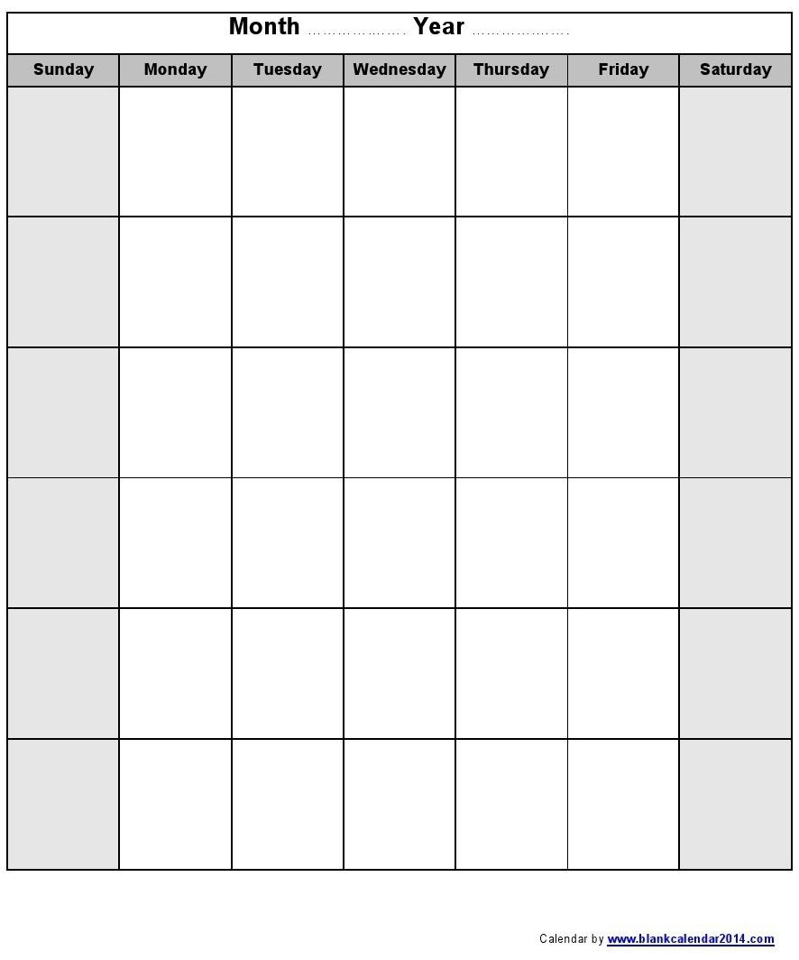 Blank Monday Through Friday Calendar Calendar 2017 Printable