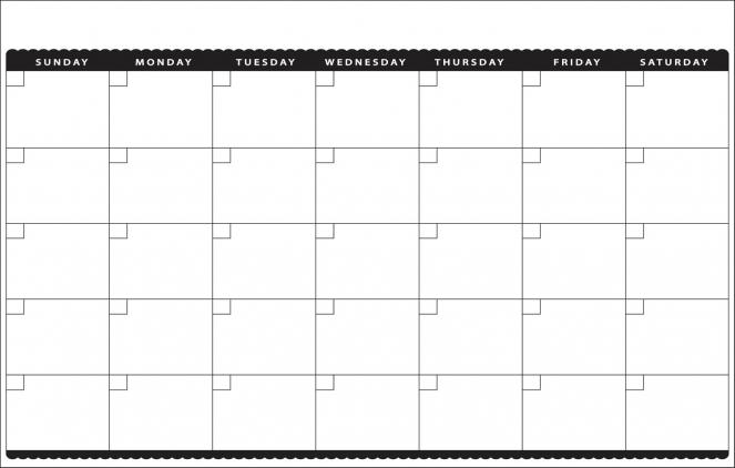 Blank Monthly Calendar Template Printable 11×17 Calendar 1500 X