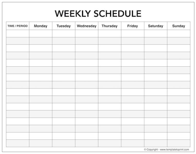 Blank Weekly Calendar With Time Slots Monday To Sunday Schedule