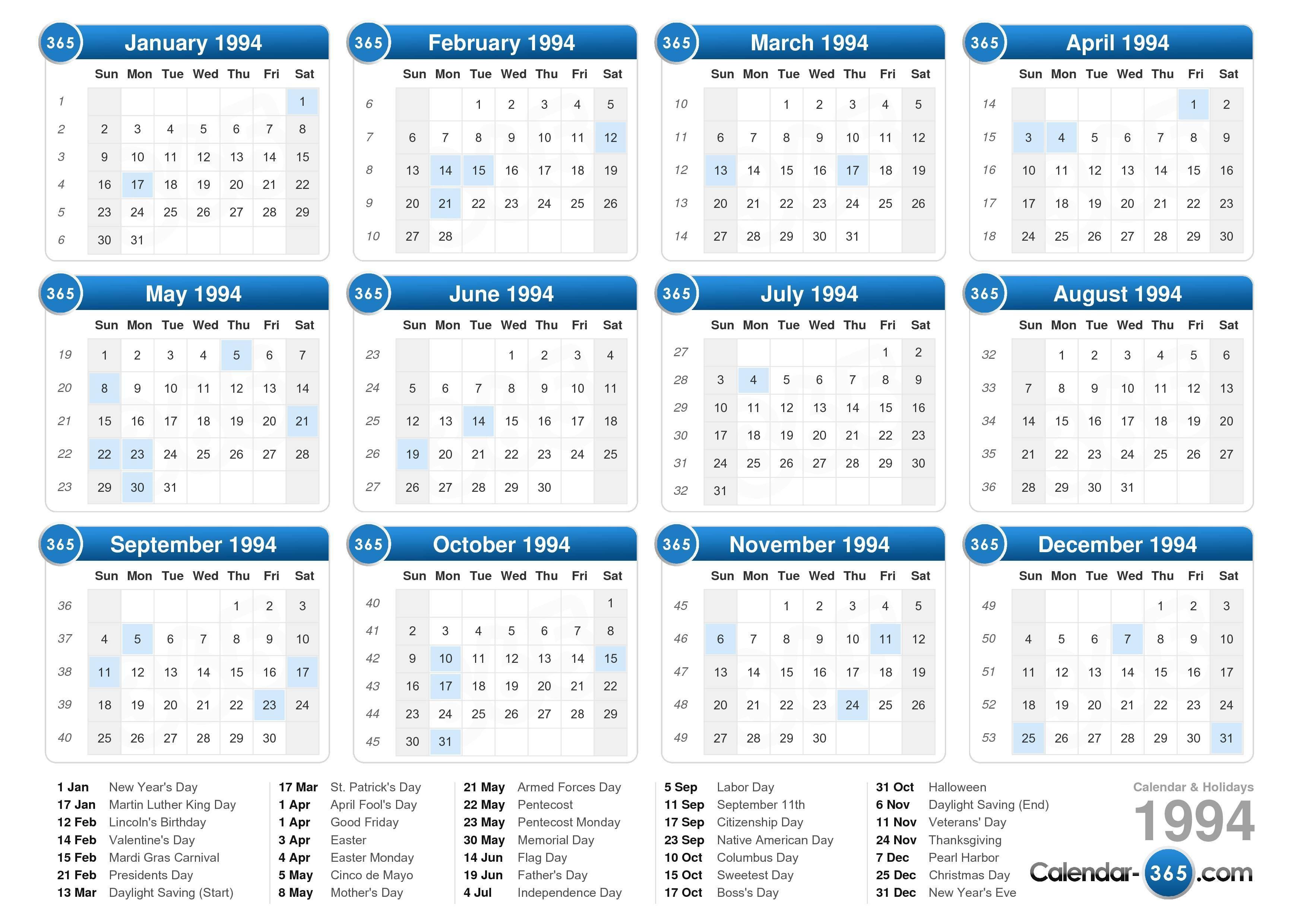 Calendar 1994 Nasionalis