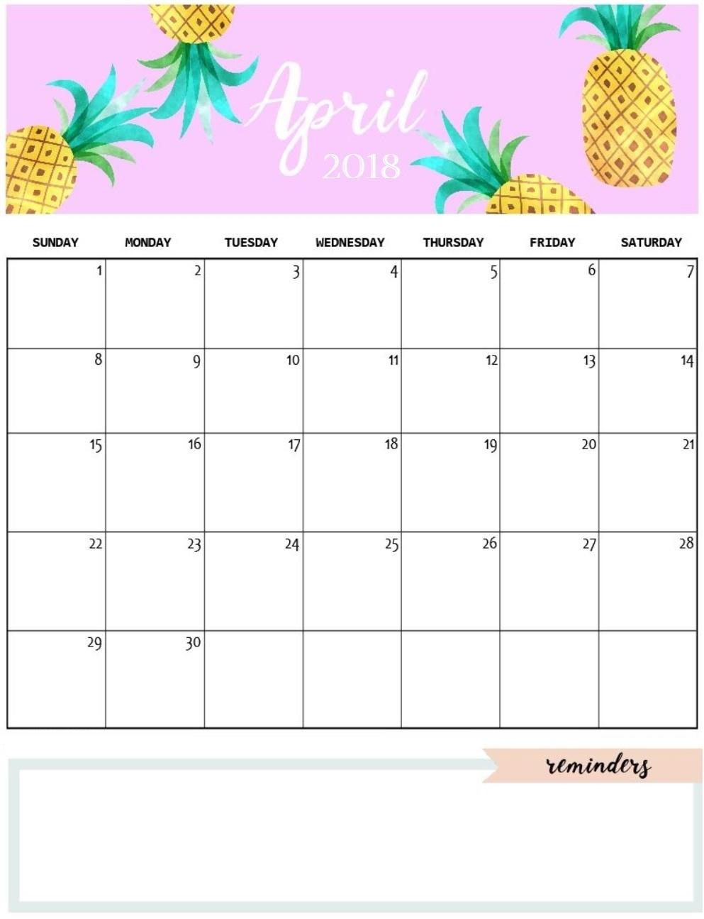 Calendar April 2018 Pretty Rudyco  Xjb