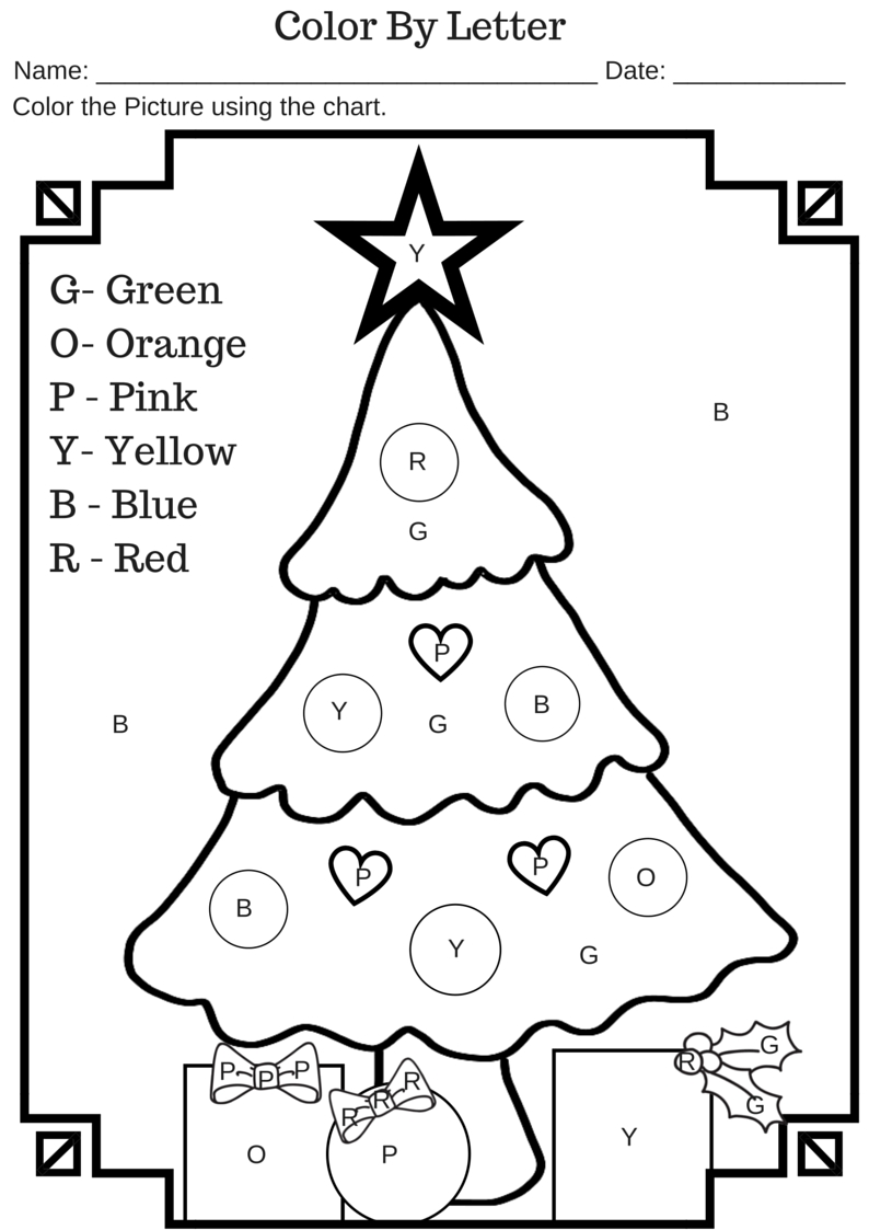 Color Letter Christmas Tree Free Printable Worksheet Free3abry