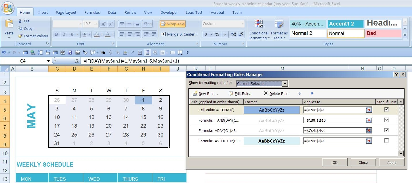 Dynamic Monthly Excel Calendar Super User  Xjb