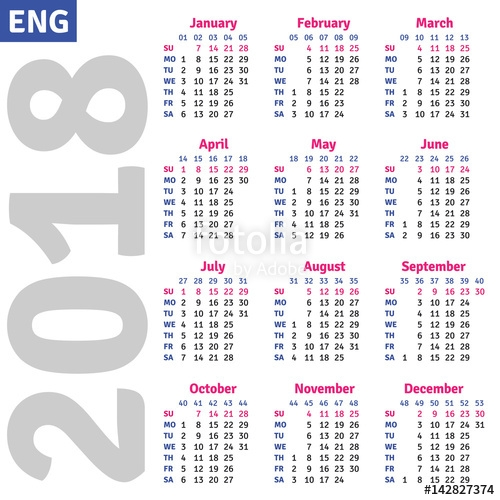 English Calendar 2018 Vertical Calendar Grid Vector Stock