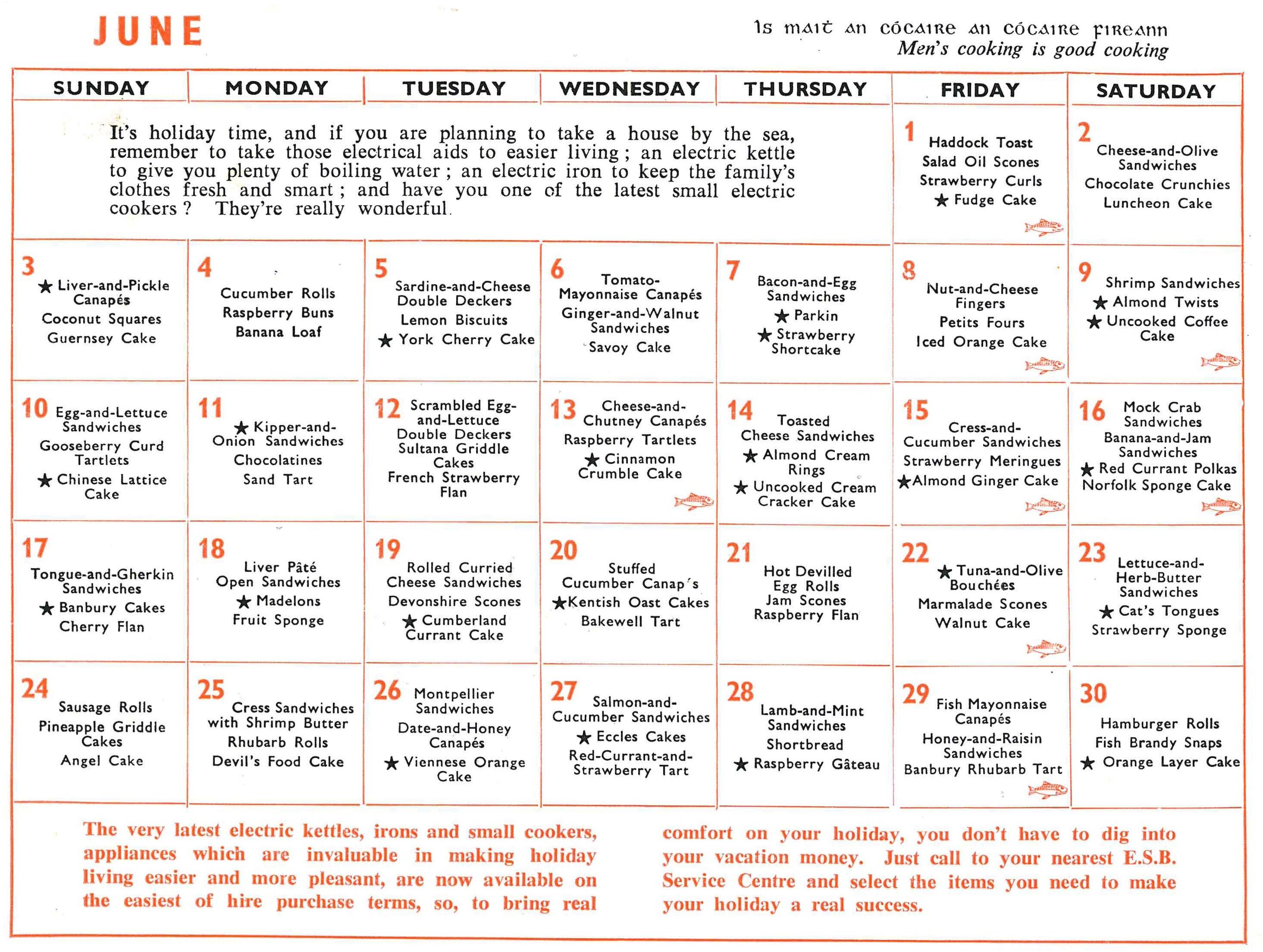 Esb Housewives Calendar Jun 1962 Archives Brilliant Nasionalis3abry