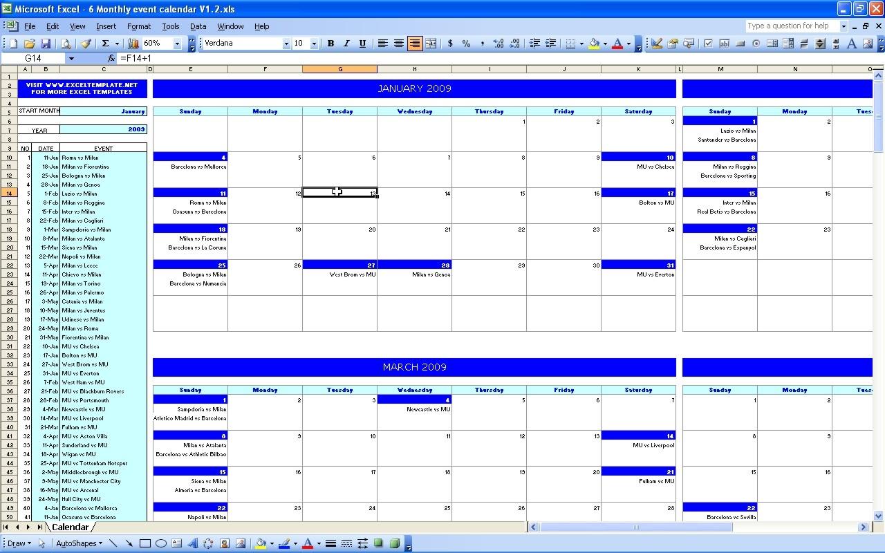Event Calendar Excel Matthewgatesco  Xjb
