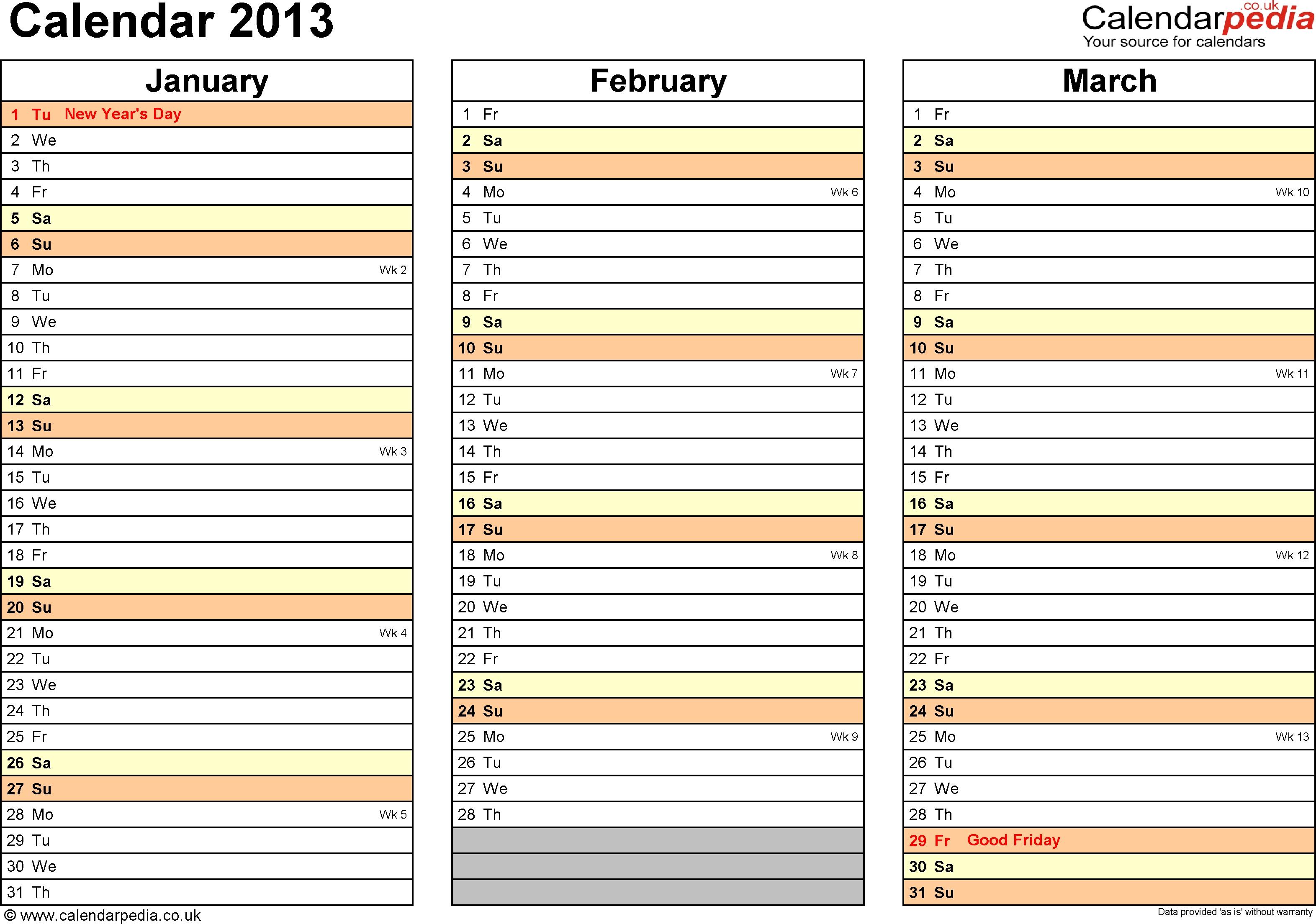 Excel Calendar 2013 Uk 12 Printable Templates Xlsx Free 89uj