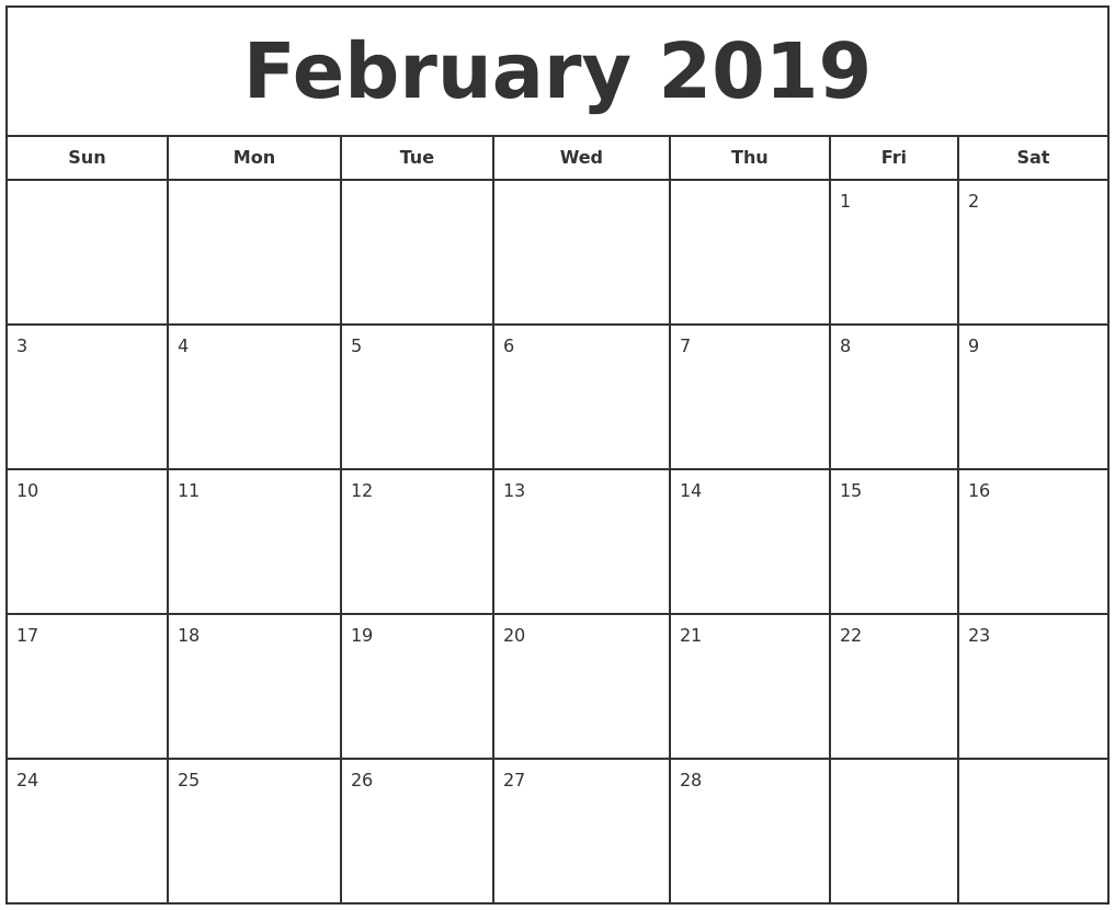 February 2019 Print Free Calendar