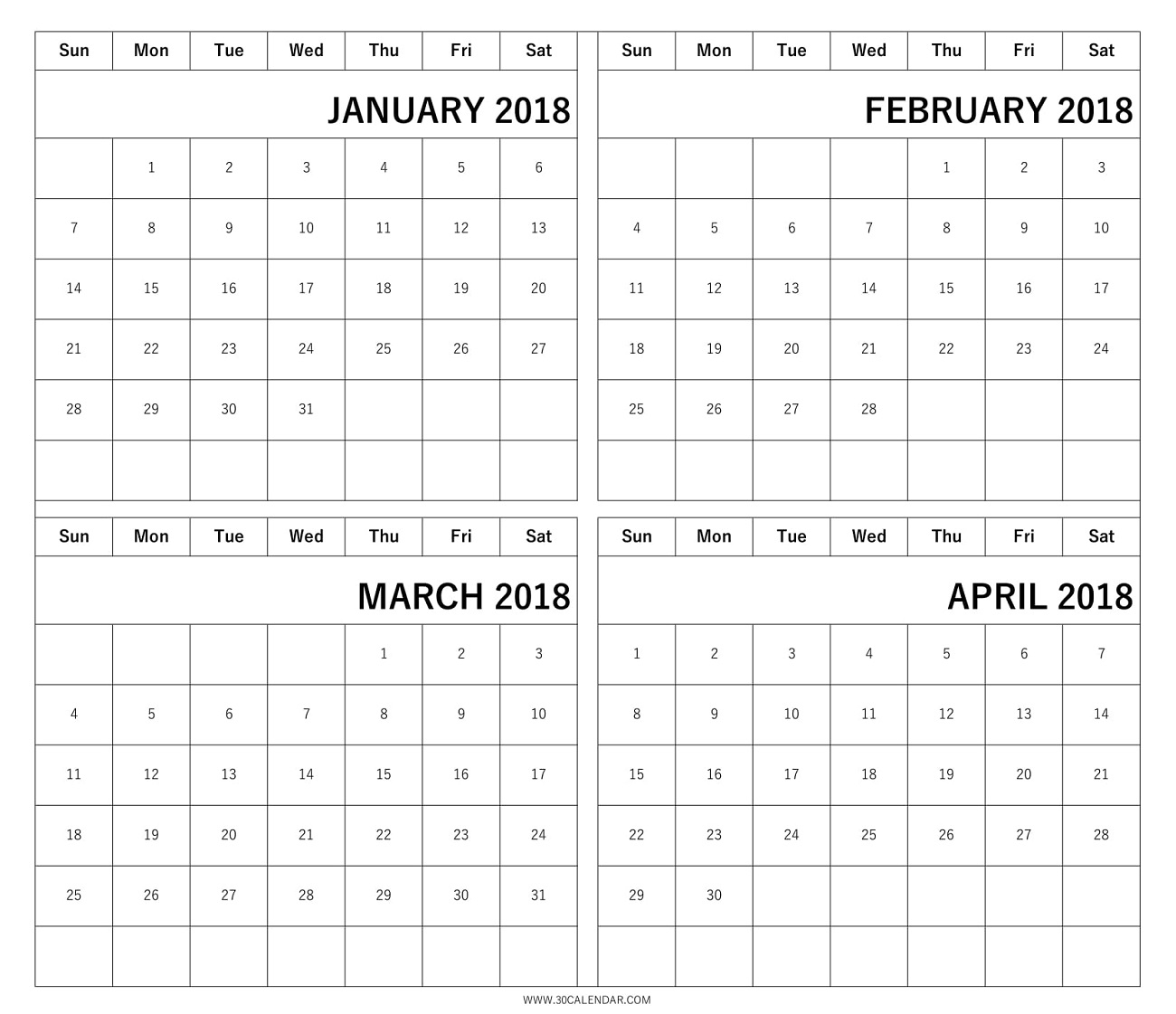 Four Month January February March April 2018 Calendar Template3abry