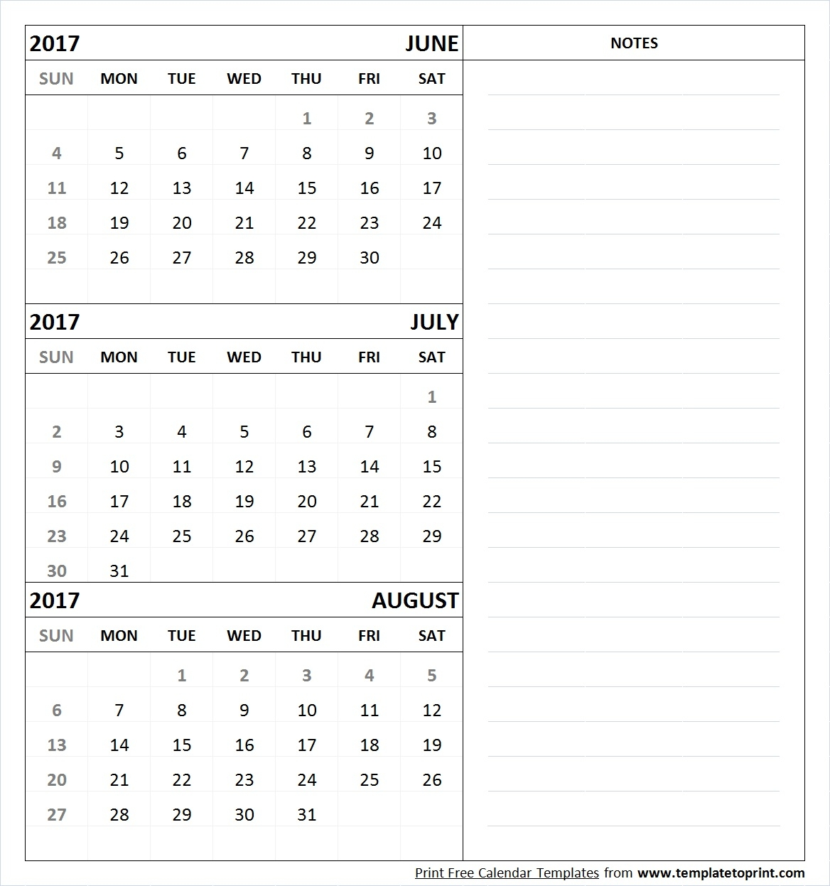 Free Print June July August 2017 Calendar Template Template To Print3abry